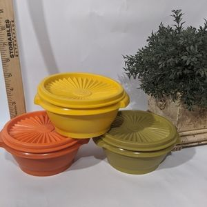 Vintage Tupperware Fall Autumn Color Bowls